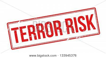 Terror Risk Red Rubber Stamp On White
