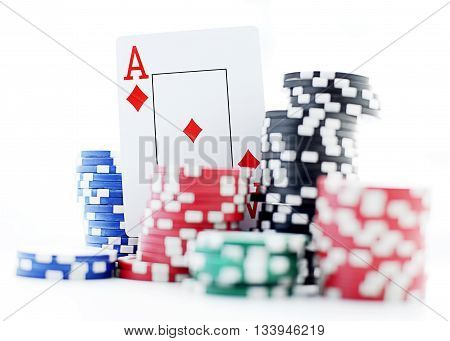ace and poker chips on white background
