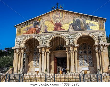JERUSALEM ISRAEL - OCTOBER 24: Church of All Nations Church or Basilica of the Agony in Jerusalem Israel on October 24 2015