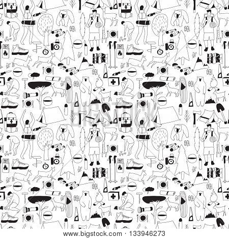 Vector hand drawn cartoon seamless camping pattern. Picnic travel and camping theme. Black and white camping pattern. Textil paper polygraphy game web design