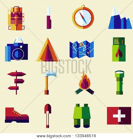 Vector flat color icon set. Picnic travel and camping theme.