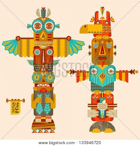 Multi colored decorative totem poles. Vector illustration