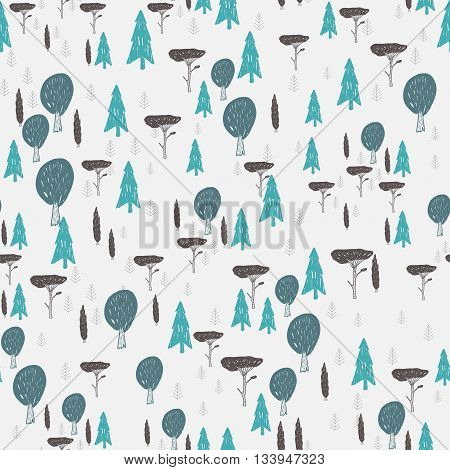 Vector seamless hand drawn pattern with trees. Textil paper polygraphy game web design