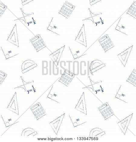 Seamless pattern back to school. Vector White sheet blue squared writing ink formula, line, triangle, calculator, protractor and angle. Design elements for the design of school manuals
