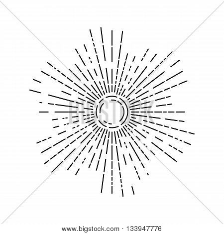 Linear Drawing Of Rays Of The Sun