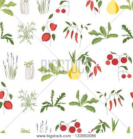 Seamless pattern with herbs and vegetables in flower pots.