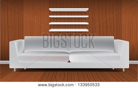Vector White Empty Shelf and modern minimalism style white sofa. Isolated on Wall Background. Luxury Display Mock-up