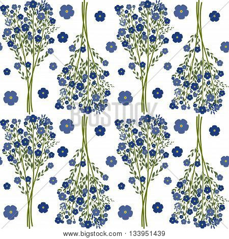 Seamless pattern, bouquets of forget-me-not with leaves isolated on white background, vector illustration