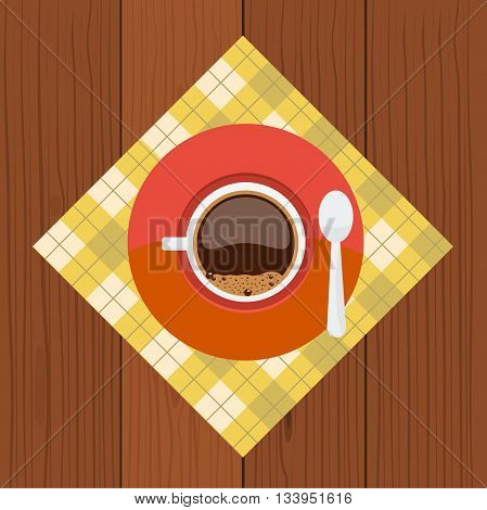 Cup top view. Cup and sauser with coffee and coffee bubbles top view on napkin with flat color style design and with wood background. Concept of breakfast coffee break.