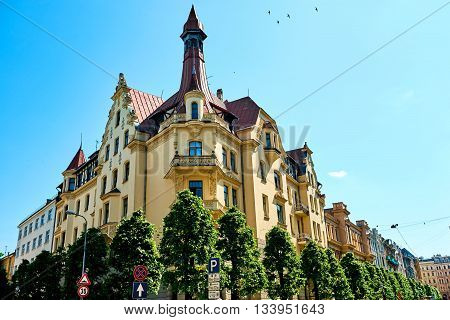 Art Nouveau architecture in Riga Latvia. Northern Europe