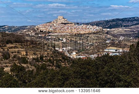 Breathtaking view of Morella. Morella is an ancient gothic city located on a hill-top in the province of Castellon Valencian Community Spain. Morella is in the heart of the historic region of Meastrazgo and it is listed as one of the most beautiful towns
