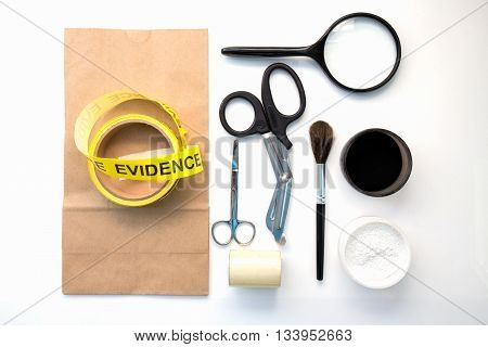 forensic tool for crime scene investigation isolated on white background