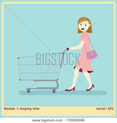 graphic vector woman and shoping cart in cartoon style