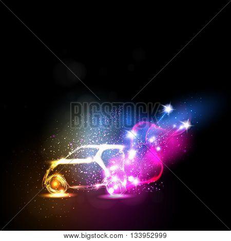 abstract neon car easy all editable