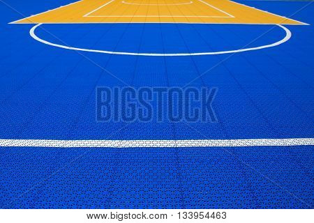 line and colorful pattern on outdoor PVC basketball court