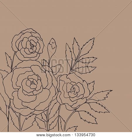 Beautiful roses isolated on light beige background. Hand drawn vector illustration with flowers. Brown retro floral card. Romantic delicate bouquet. Element for design. Contour lines and strokes.