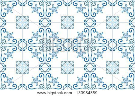 Ornate sea themed portuguese and brazilian tiles azulejos with starfish and shells. Spanish talavera tiles. Vintage pattern. Abstract background. Vector illustration, eps10.