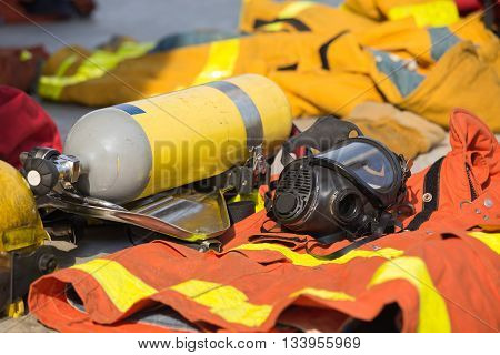 fireman oxygen mask and air tank with equipment prepare for operation