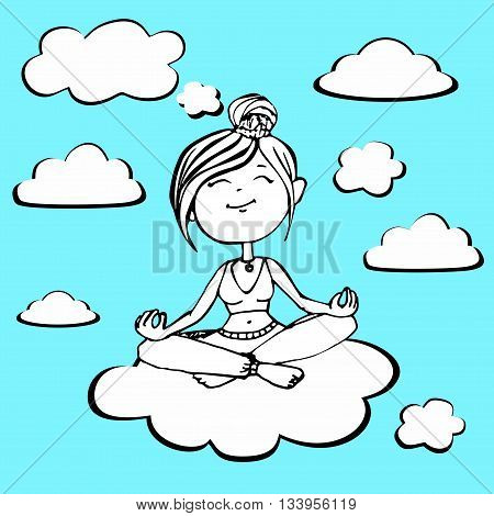 Vector coloring girl yogi sitting on a cloud.