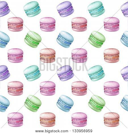 Watercolor illustration of hand painted macarons pattern