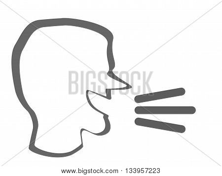 A human head with a talk or speak icon. Loud noise symbol. Human talking sign
