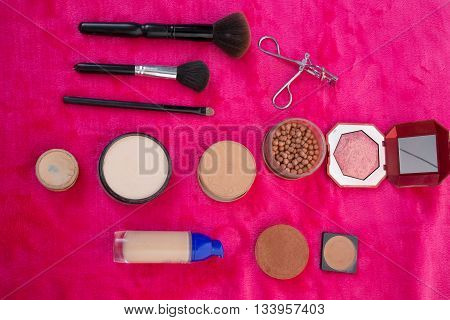 Make up essentials. Set of professional make up