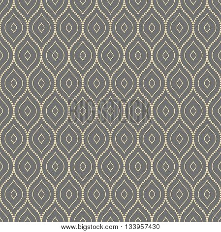 Seamless vector ornament. Modern geometric pattern with repeating dotted wavy lines. Gray and golden pattern