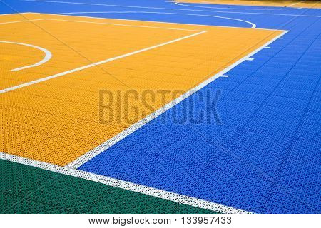 line and colorful pattern on PVC outdoor basketbal court texture