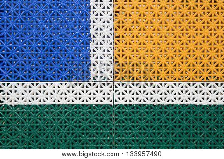 colorful and line pattern on PVC outdoor basketball court