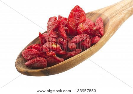 Wooden Spoon with Group of Goji berry
