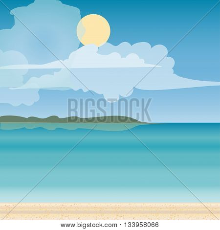 Sea horizon nature landscape. Tourism journey on the sea. Tropical travel beach vacation. Vector illustration