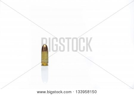 9 mm bullet isolated on white background with space for text