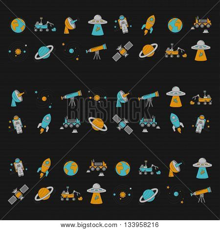 Vector set of space and astronomy icons Linear design