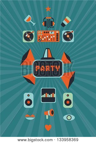 Retro illustration for a dance party. Music background.