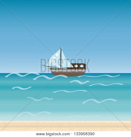 Water transport travel  ship across sea river ocean. Cruise. A beach holiday. Vector illustration