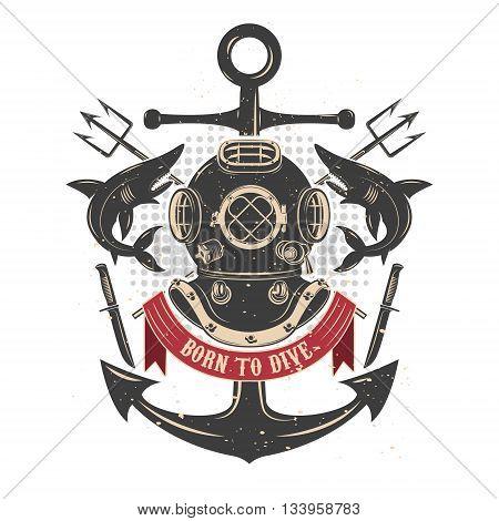 Vintage diving helmet with sharks and tridents. Divers club emblem template. Design element for logo label emblem sign badge. Vector illustration.