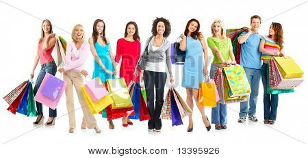 Happy shopping shopping. Isolated over white background