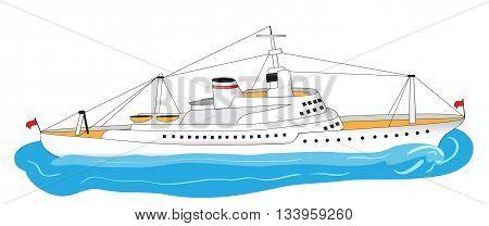 Illustration of a big white ocean liner