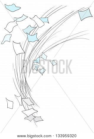 Illustration of scattered sheets of paper whirlwind wind