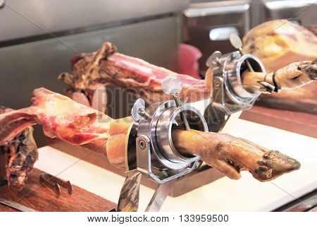 Jamon. Jamon Serrano. Traditional Spanish Ham Close Up.