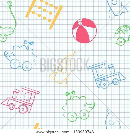 Seamless pattern back to school. Vector White sheet blue squared writing ink Hand-drawn style. Seamless vector wallpaper with the image of hedgehog, key wind-up toy, rocket, train.