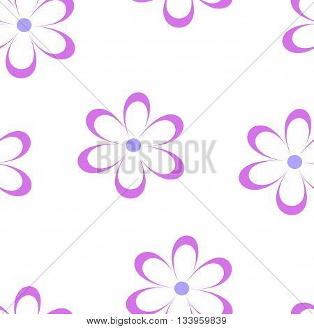 Seamless pattern. Vector illustration with flowers. Vintage floral print. Field of cute daisies. Textile design with pink chamomiles on white background. Spring or summer template. Surface texture.