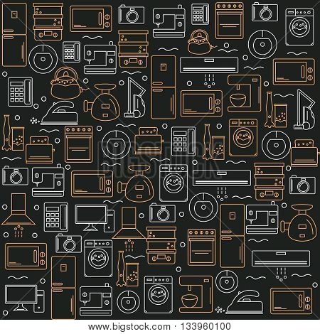 Home appliances. Background with the image of home appliances. Banner for your company or shop . Vector illustration.