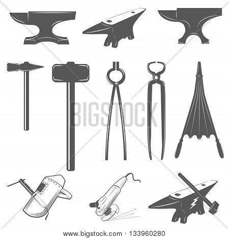 Set of anvilshammers and design elements for blacksmith labels and badges.