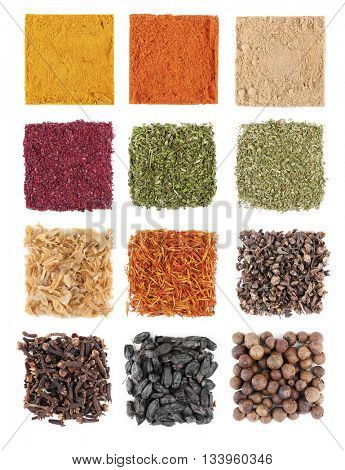 Set of different spices isolated on white background