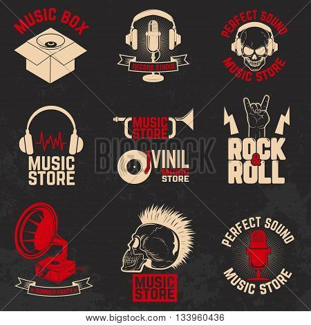 Set of music store labels on grunge background. Design element for poster flyer emblem logo sign.