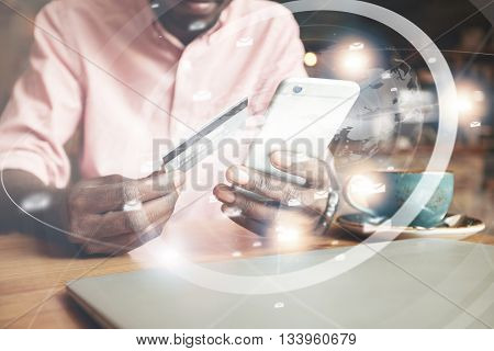 Visual Effects. Worldwide Connection Interface. Cropped Shot Of African Man, Holding Smart Phone And