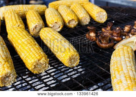 Vegan bbq party. Barbecue large grill outdoors. Cookout bbq vegetable food. Fresh corns, mushrooms. Healthy vegetarian grilled snack, corncobs on grill. Street food, fast food. Tasty natural food.