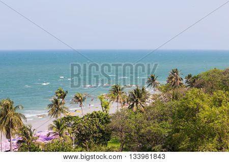 beach with blue sea and jungle at Hua Hin Thailand