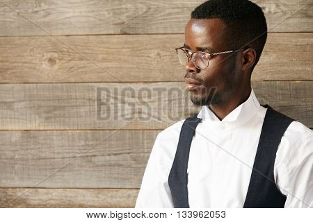 Career And Success Concept. Portrait Of Young Successful African American Businessman Or Ceo In Form
